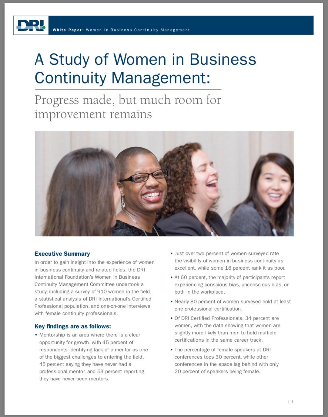 Press releases dri new dri white paper women in business continuity management xflitez Choice Image